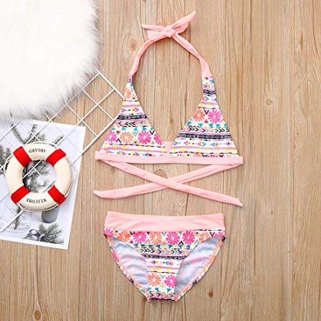 TiTCool Mother Girl Swimwear High Waisted Family Matching Swimsuits Baby Girls Bikini Swimsuit Set