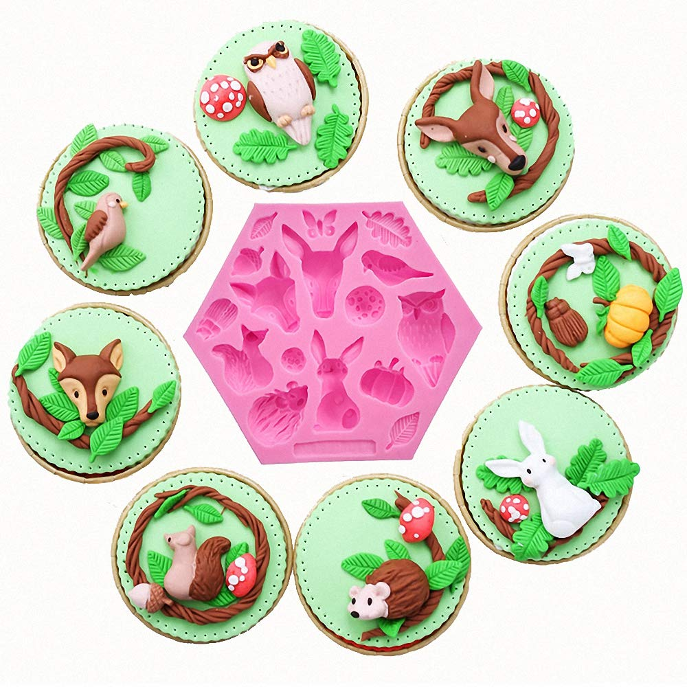 Owl Squirrel Giraffe Fox Bird Hedgehog Included Chocolate Cake//Cupcake Topper Decorating Polymer Clay Gum Paste Candy MoldFun Forest Animals Silicone Mold for Fondant