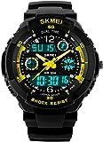 Fanmis Sport Watch Multifunction Dual Time Led Light Waterproof Alarm S - Shock Wristwatch Yellow