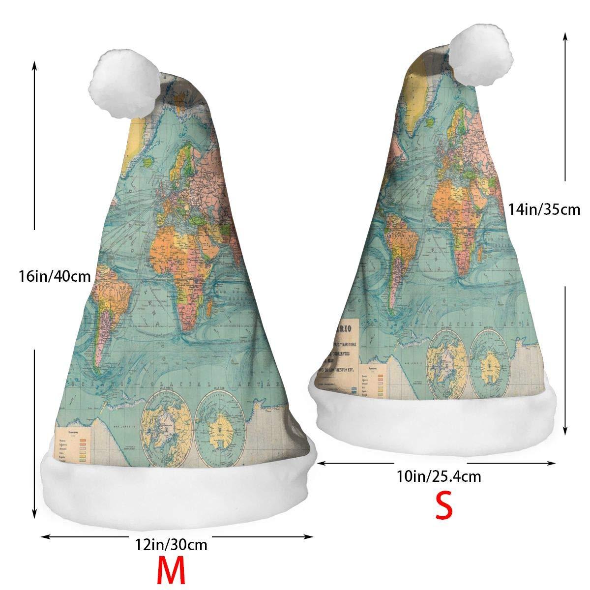 SHNUFHBD 2 Pcs Decor Christmas Hat Antique World Map Santa Xmas Cap Holiday Decorations