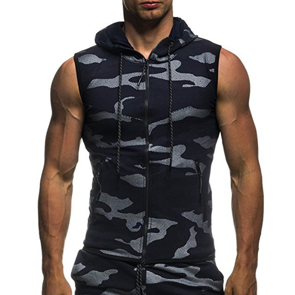 Mens Tops Hechun Men's Summer Camouflage Stringer Hooded Tank,Casual Sleeveless Zipper Bodybuilding Vest with Pockets (XL, Navy) by Mens Tops Hechun