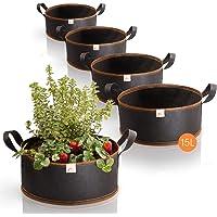 Amazy set de 5 bolsas de plantación – 15L (∅35cm, 15cm de altura) - transpirable & resistente | Para Urban Gardening y…