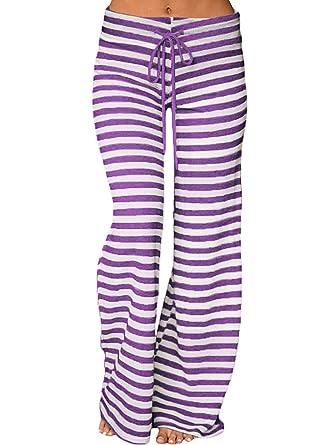 74de1304ba4 Women Plus Size Striped Wide Leg Drawstring High Waist Palazzo Yoga Pants  Purple S