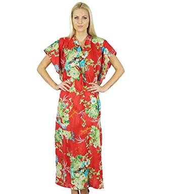 a74bf0d7563 Bimba Women Long Cotton Kaftan Floral Night Wear Classic Caftan Dress