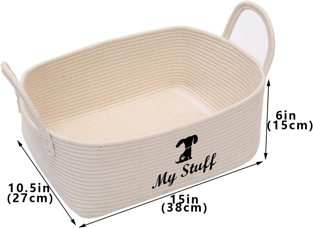 Brabtod Cotton pet toy storage basket with handle Beige pet toy box- Perfect for organizing small cat toys scratching posts and cat stuff kitty blankets Cat cat toy basket