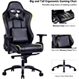 KILLABEE Big and Tall Metal Base Gaming Chair - Ergonomic Leather Racing Computer Chair High-Back Office Desk Chair with Adjustable Memory Foam Lumbar Support and Headrest, Black