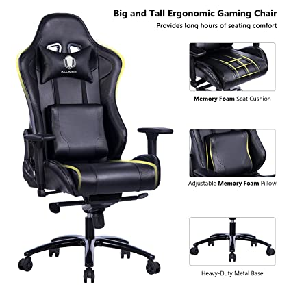 KILLABEE Big and Tall Gaming Chair with Metal Base - Ergonomic Leather Racing Computer Chair High  sc 1 st  Amazon.com & Amazon.com: KILLABEE Big and Tall Gaming Chair with Metal Base ...