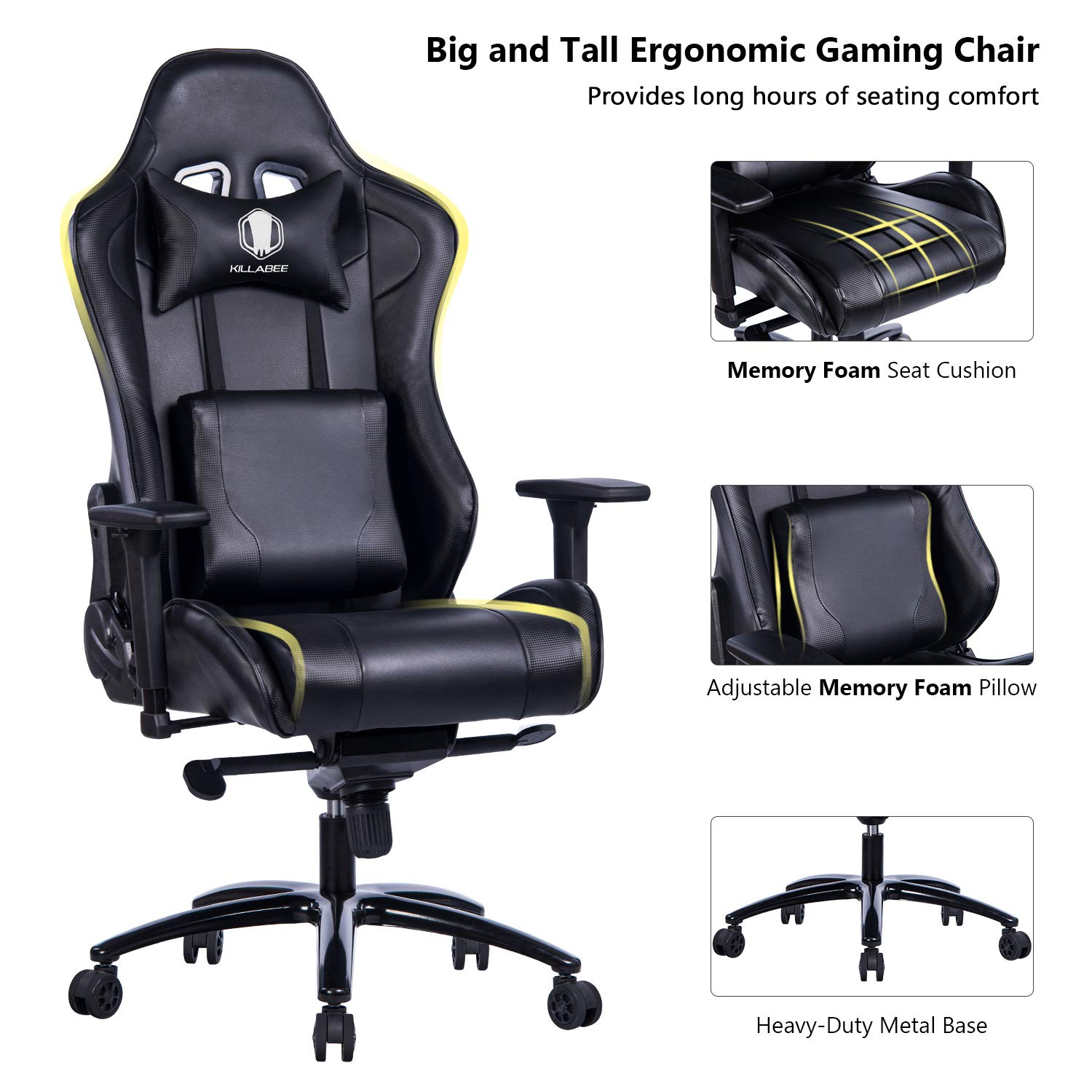 KILLABEE Big and Tall Gaming Chair with Metal Base - Ergonomic Leather Racing Computer Chair High