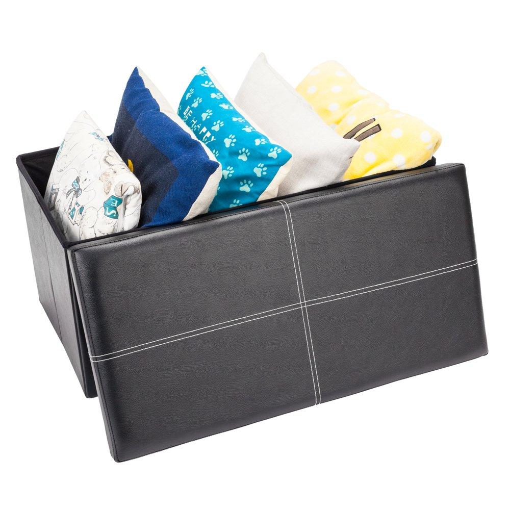 Teekland PVC Leather Folding Rectangle Shape Storage Footstool Surface w/Line Black