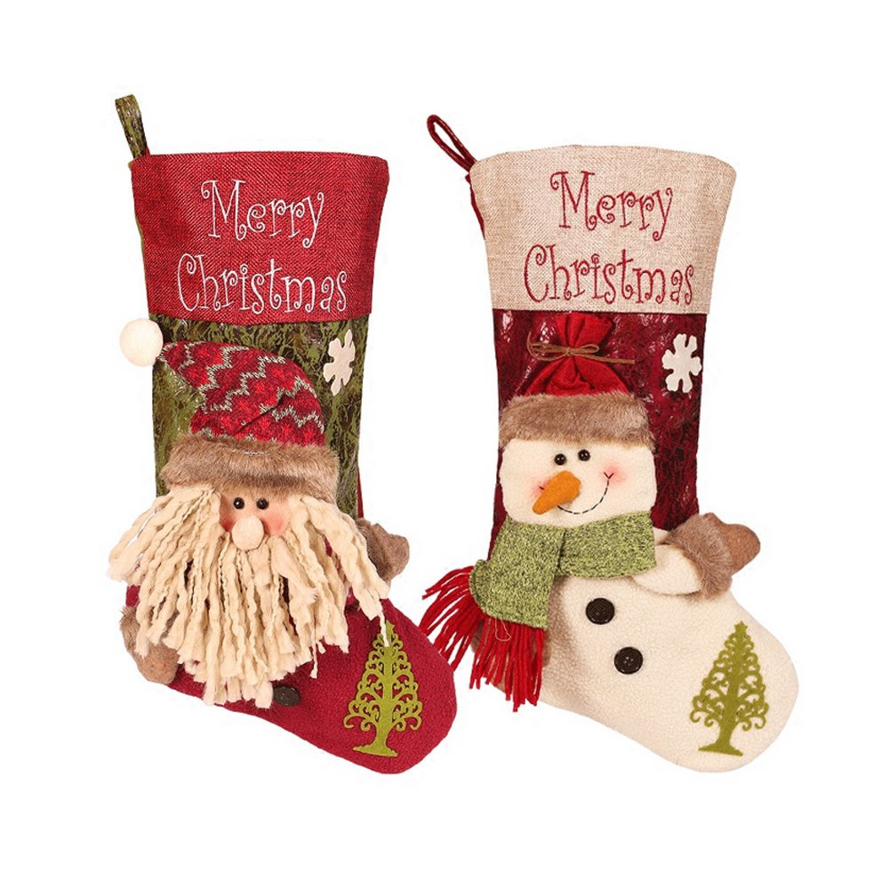 Christmas Stocking Decoration,DiDaDi [2 PCS] [3D Santa + Snowman] Pattern Large Christmas Stocking Personalized Fireplace Showcase Christmas Tree Ornaments Kids Candy Gifts Bag