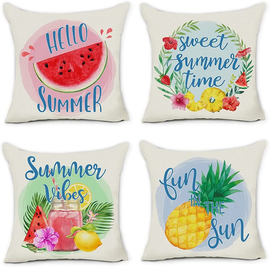 pinata Summer Pillow Covers 20x20 Set of 4, Outdoor Decorative Throw Pillows Cases Pineapple Watermelon Farmhouse Holiday Modern Decor for Home Couch Sofa Seasonal Square Cushion Covers