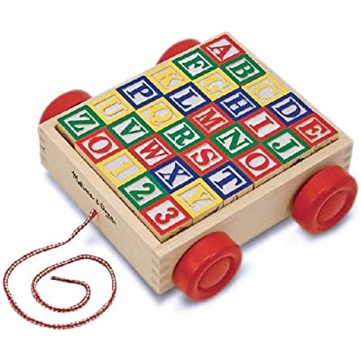 Melissa & Doug Classic ABC Block Cart: Toys & Games