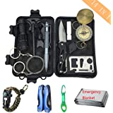 UniCrown Emergency Survival Gear Kit 14 in 1 - (2018 New Upgraded) Military Outdoor Lifesaving Tool Sets for Camping Hiking Climbing Traveling Hunting Wilderness Adventures