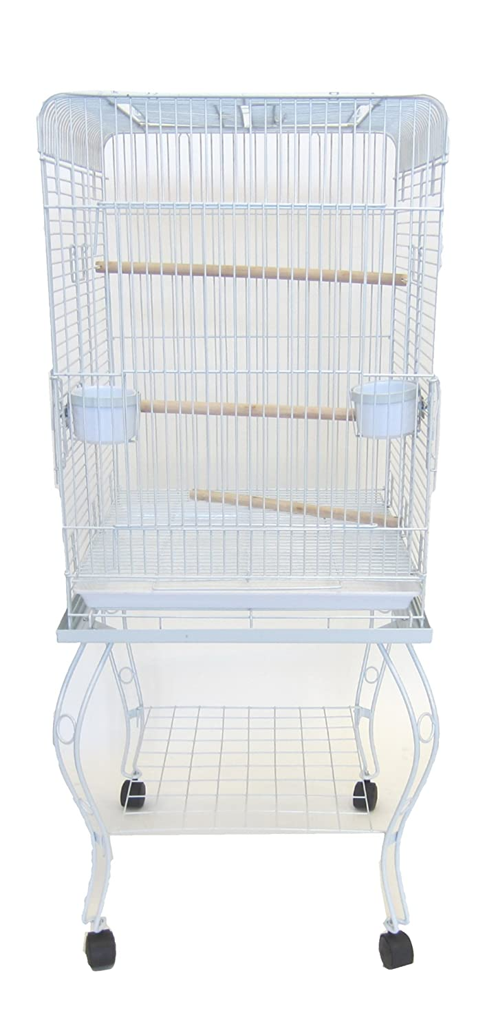YML 20-Inch Open Top Parrot Cage with Stand, Black 600HBLK