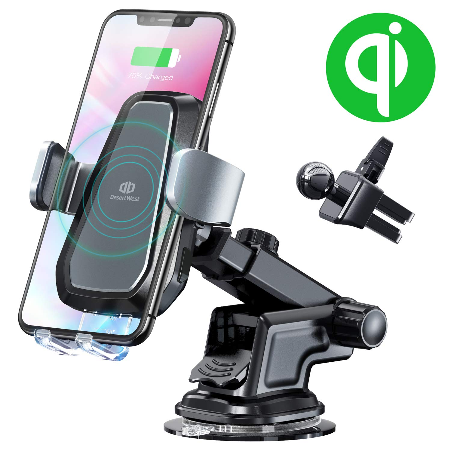 DesertWest Wireless Car Charger Phone Mount, Fast Charge Car Holder Automatic Clamping Dashboard & Windshield & Air Vent Holder for QI Smartphones (Holder+Charger)