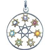 """Chakra Anhänger """"Star of Life"""", Symbol der sieben Chakra Zentren im Menschen, 925 Sterling Silber"""