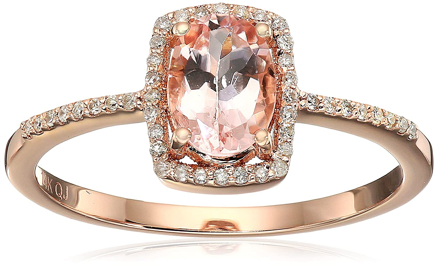 0.75 Carat Genuine Morganite & White Diamond 14K Rose Gold Ring, Size 7