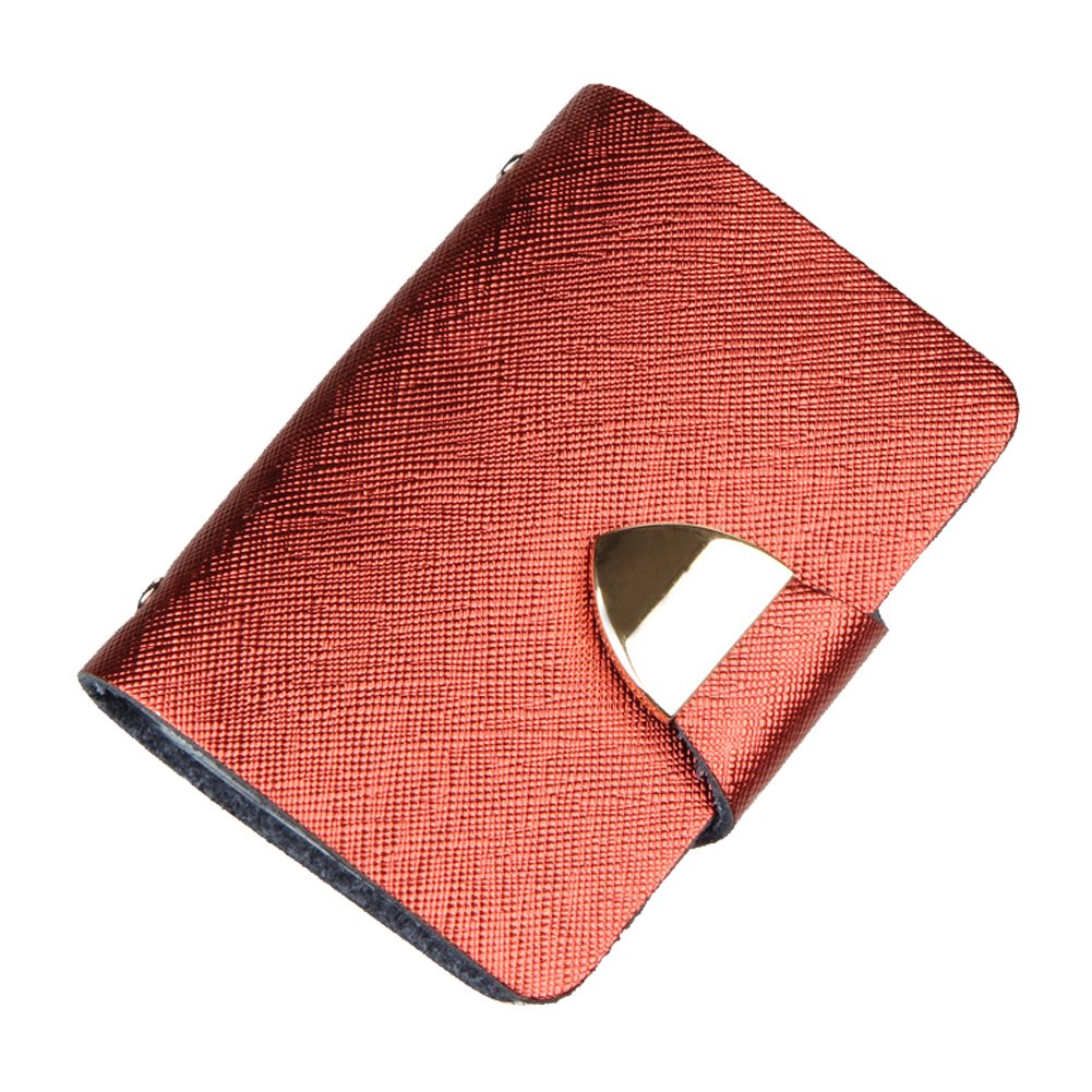 Colorido Faux Leather Fold Design Business ID Credit Card Slots Holder Case size Small (Red)