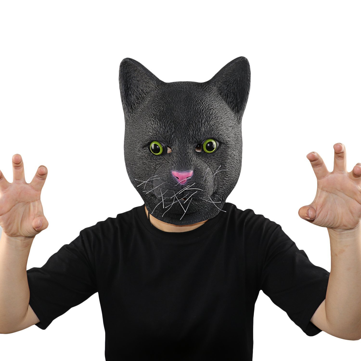 XIAO MO GU Latex Halloween Costume Decorations for Adults and Kids Animal Head Mask Black Cat