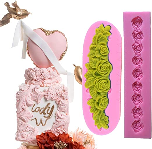 Heart Floral Shape Fondant Sugar Gumpaste Silicone Mold for Cake Decorating and Sugarcraft