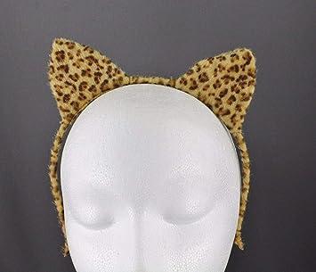 Cheetah cat kitten ears headband hair band accessory cosplay brown black leopard