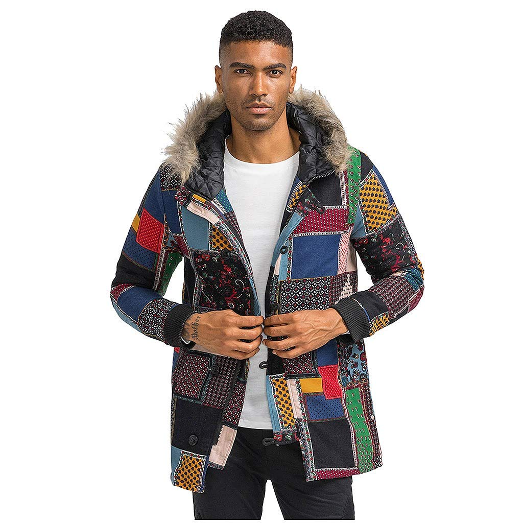 wuliLINL Mens Floral Print Hooded Warm Winter Thicken Cotton-Padded Parkas Long Oversize Coats(Multicolor,XL) by wuliLINL