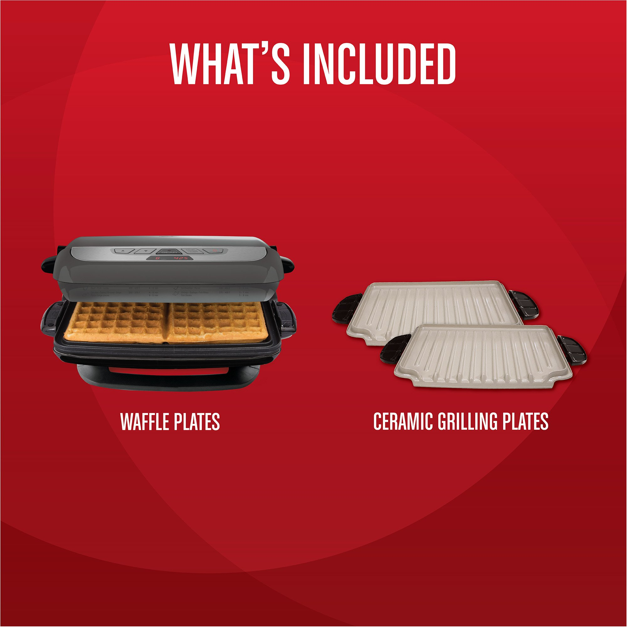 George Foreman GRP4842MB Multi-Plate Evolve Grill, (Ceramic Grilling Plates, and Waffle Plates Included), Black by George Foreman (Image #2)