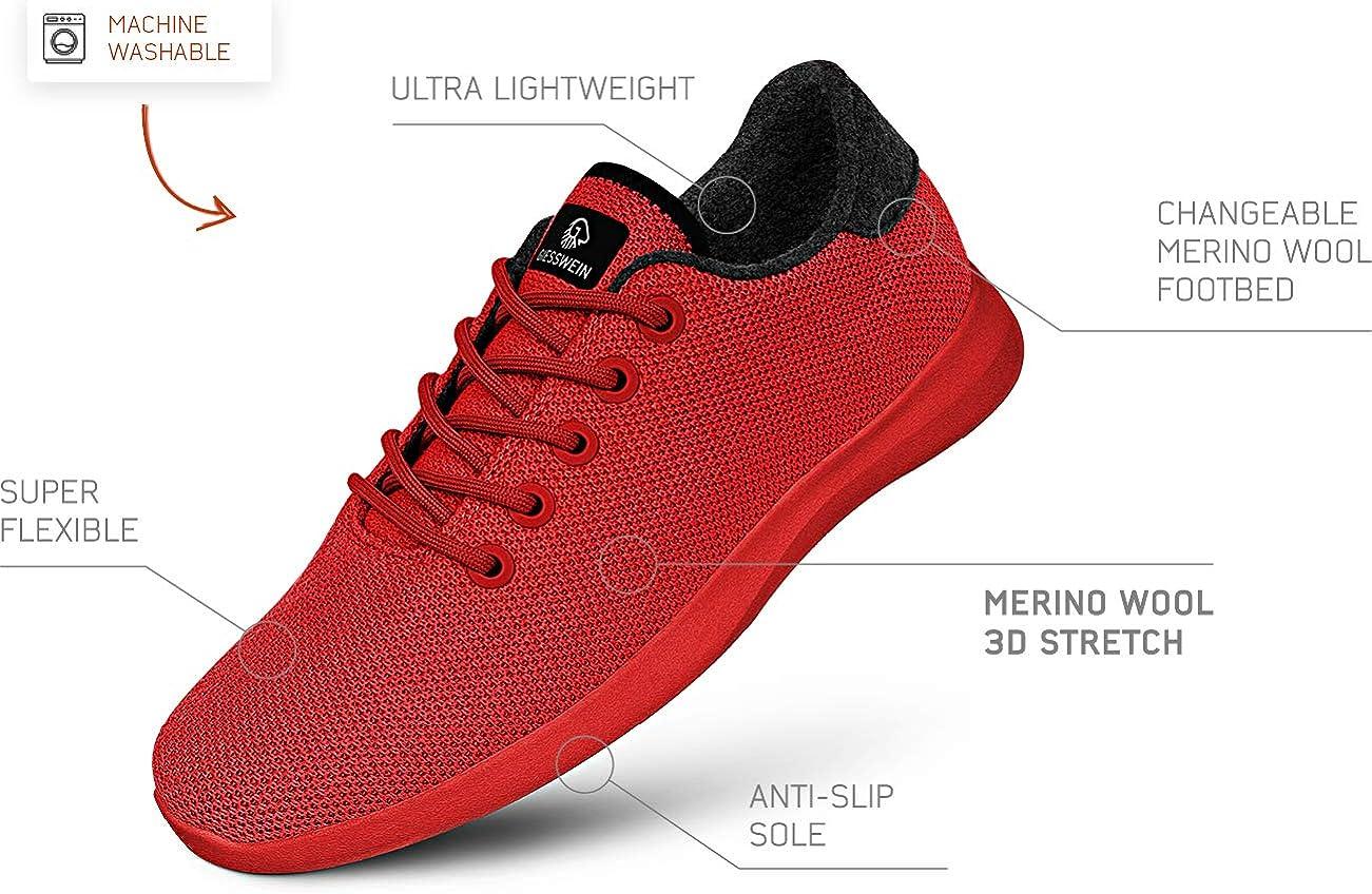 GIESSWEIN Merino Wool Knit Women - Atmungsaktive Sneaker für Damen aus 100% Merino Wolle, Sportliche Barfußschuhe Frauen, Freizeitschuh, Damenschuhe Flammenrot