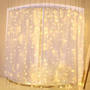 Twinkle Lights Star 300 LED Window Curtain String Light Wedding Party Home Garden Bedroom Backdrop Outdoor Indoor Wall Decorations,LED Christmas Lights 29V Safety Voltage Transformer (Warm White)