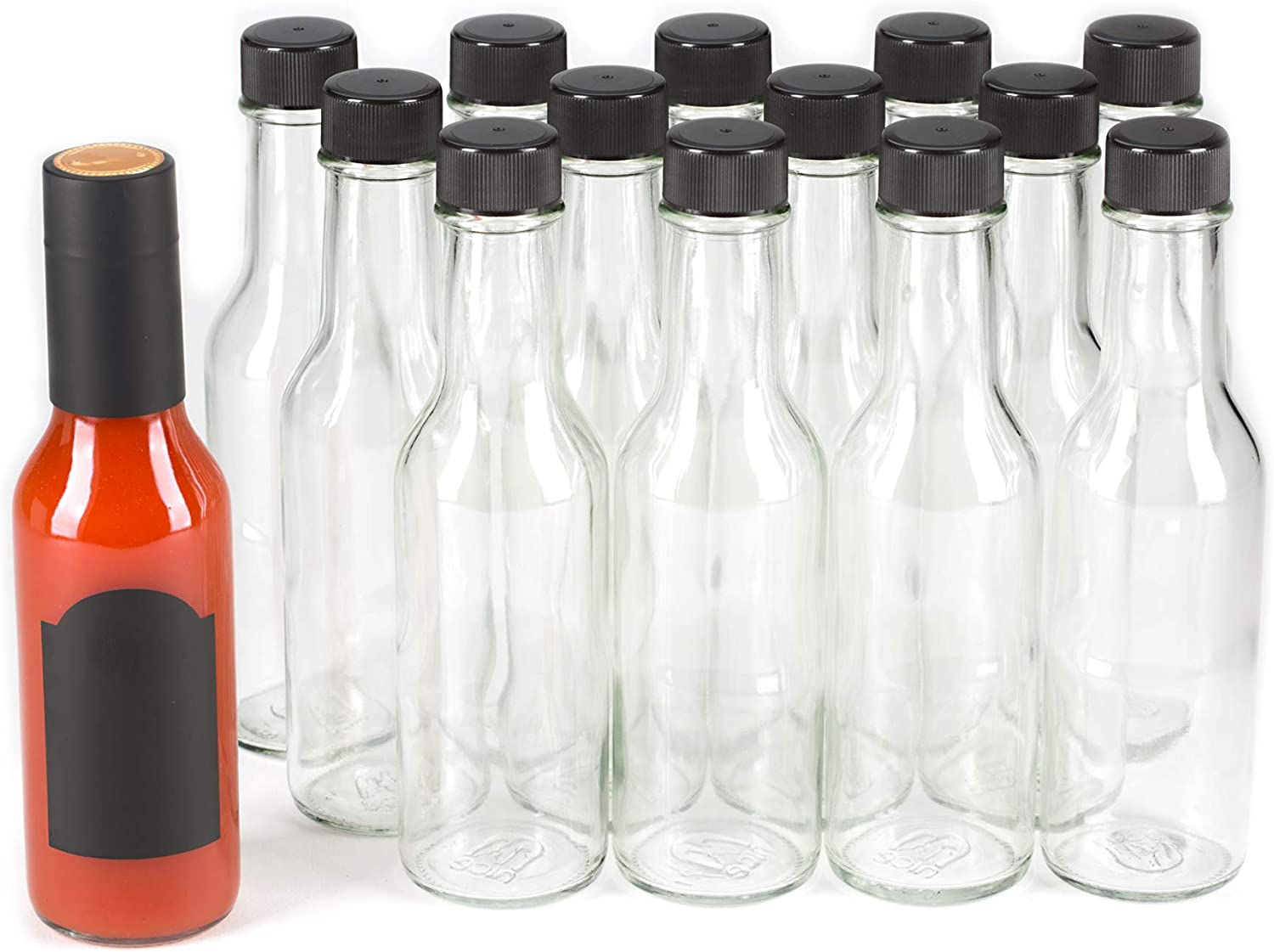 and Lids- Pack of 14 Bottles 5 Oz with Black Caps and Inserts with Shrink Sleeve Premium Vials Hot Sauce Woozy Bottles