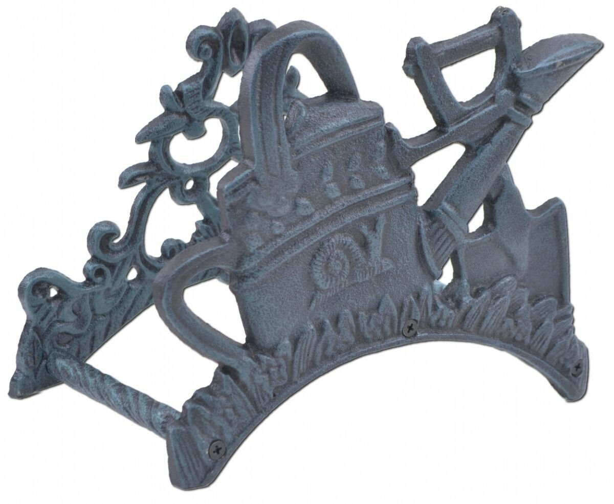 "Garden Water Hose Holder Snail Watering Can & Shovel Verdigris Cast Iron Hanger Reel 9"" Wide"