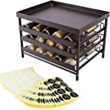 TQVAI 3-Tier Spice Jar Rack Stackable Spices Organizer with Pull Out Drawers and Labels, Hold up to 30 Jars, Fit for Countert