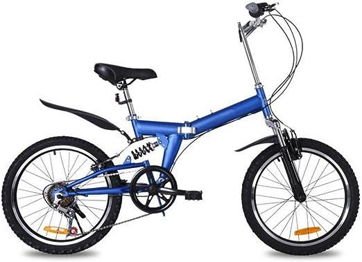 Bicicleta Plegable De Montaña De 20 Pulgadas Bicicleta De Montaña 6 Velocidades Regalo De La Bicicleta Amortiguadores De Coche Bicicleta Conveniente Bicicleta De Montaña Bicicleta De Montaña,Blue-20in: Amazon.es: Hogar