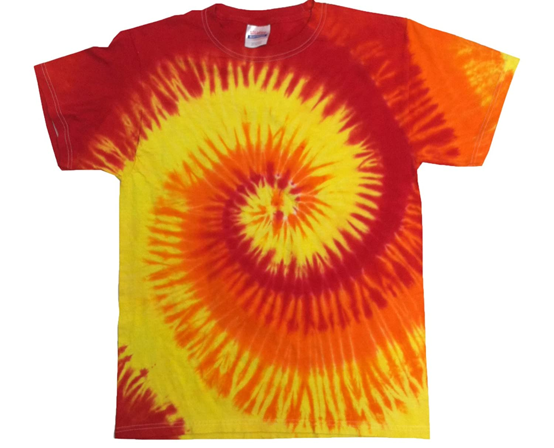 Tiedye USA Men's Tie Dye Red, Gold, Orange Swirl T-shirt