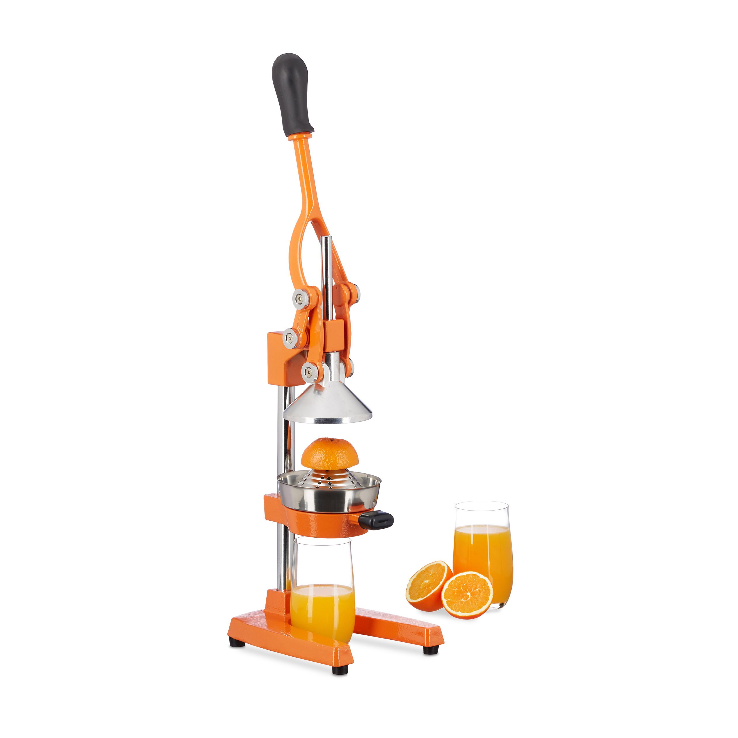Relaxdays Manual Iron and Stainless Steel Juicer, Citrus Press for Oranges, Professional Lever Zester, Orange