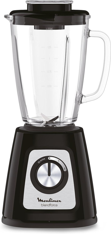 Moulinex LM430810 Blender Blendforce - Cuenco de cristal (800 W, batidora eléctrica, hielo, frutas, verduras), color negro