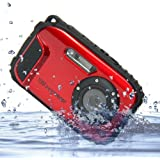 DeXop 2.7インチLCDカメラ16MPデジタルカメラ水中10m防水カメラ+ 8倍ズーム (レッド)