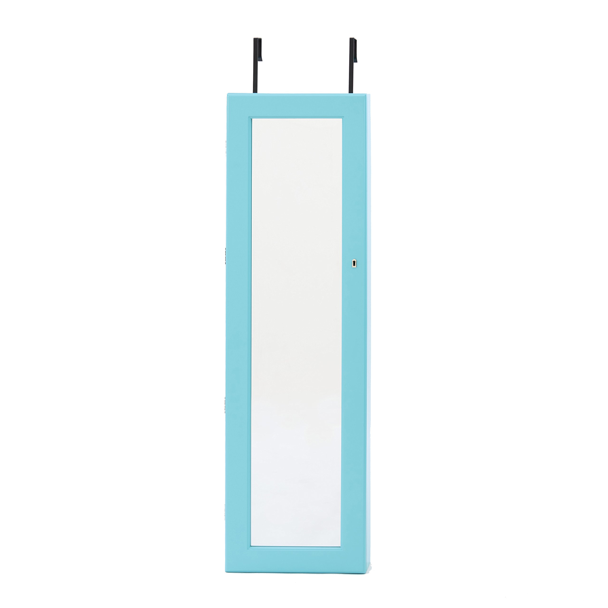 InnerSpace Luxury Products Deluxe Mirrored Jewelry Armoire, Turquoise