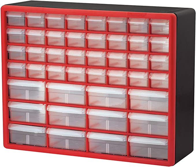Black 20-Inch W x 6-Inch D x 10-Inch H .1 Pack Plastic Parts Storage Hardware and Craft Cabinet, Akro-Mils 26 Drawer 10126