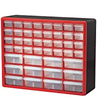 Akro-Mils 44 Drawer 10144REDBLK, Plastic Parts Storage Hardware and Craft Cabinet...