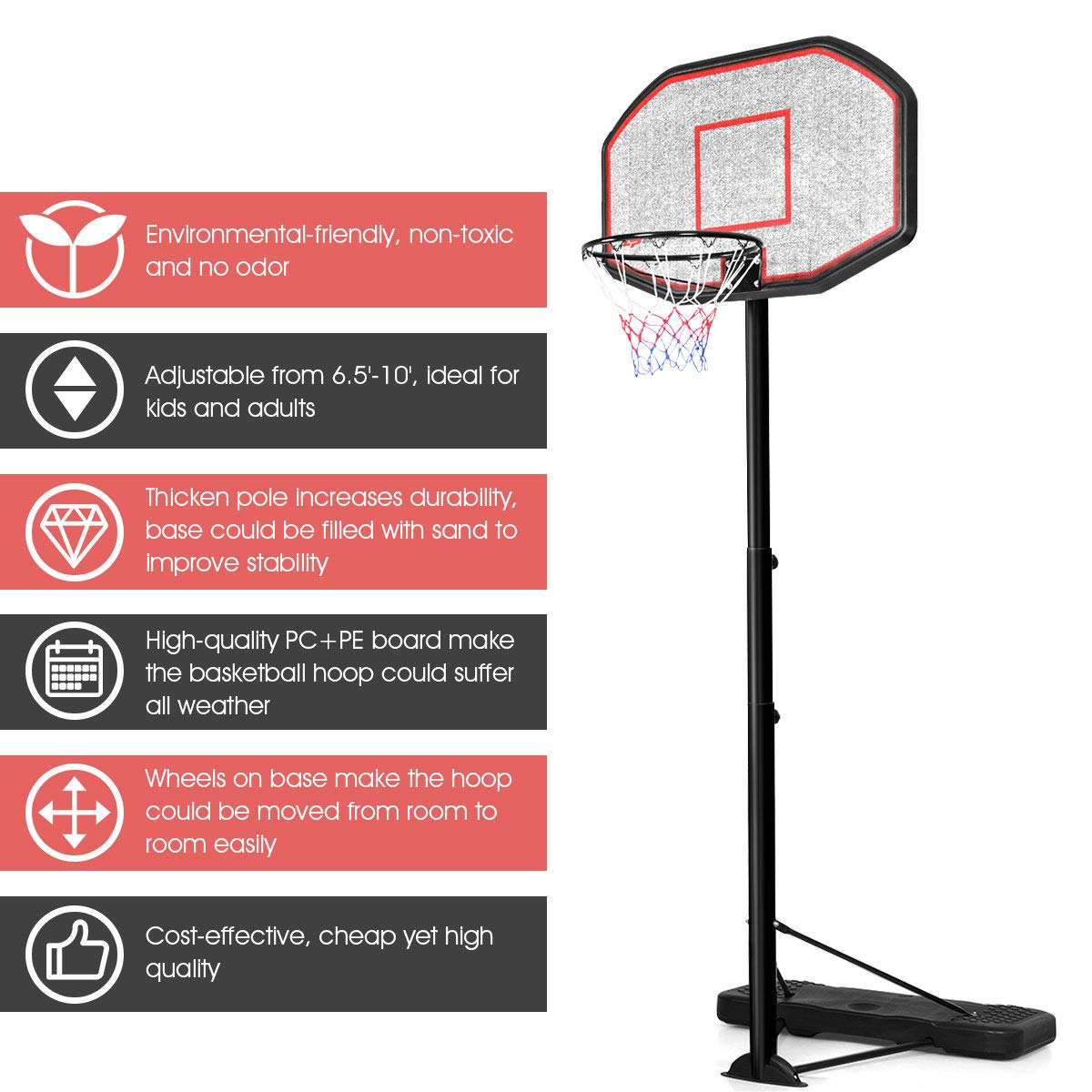Giantex Portable Basketball Hoop 10 Ft Indoor Outdoor Adjustable Height 6.5-10 Basketball Hoop for Kids Adults 43 Inch Backboard