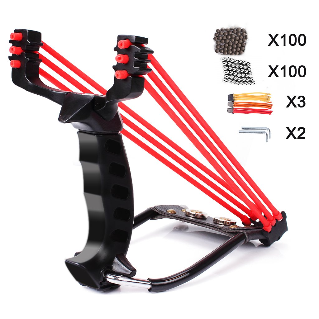 edealing Professional Slingshot Set, Wrist Rocket Hunting Y Shot Slingshot, Strong Folding Powerful Catapult + Extra 2 Rubber Bands Replacement + 100 Steel Balls + 100 Ammo Balls + 2 Fix Tool