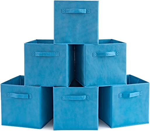 EZOWare Caja de Almacenaje con 6 pcs, Set de 6 Cajas de Juguetes, Caja de Tela para Almacenaje, Azul Niagara: Amazon.es: Hogar