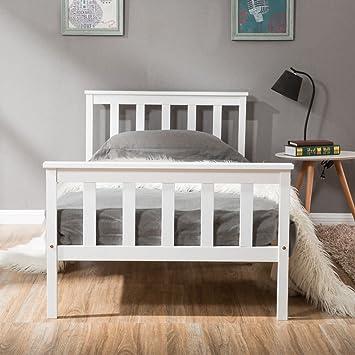 Ansley&HosHo Blanc Unique Cadre de lit en Bois Massif ...