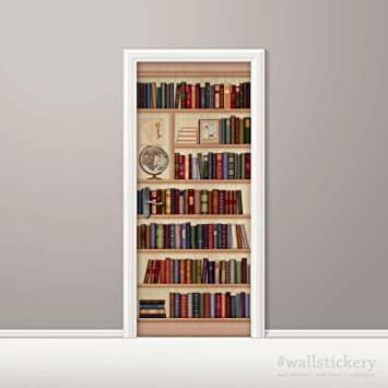 Wallstickery Door Wall Sticker Faux Bookshelf Contact Paper Mural Stickers  Self Adhesive Removable Peel And Stick