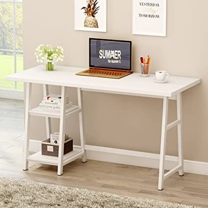 Amazoncom Tribesigns Large Computer Desk Modern Writing Desk - Metal table with shelves