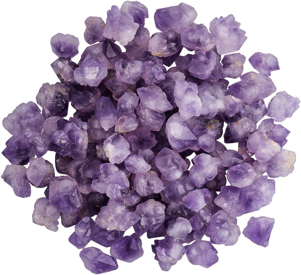 "SUNYIK Natural Amethyst Rough Stone, Irregular Raw Crystal Point Loose Gemstone for Healing Reiki Jewelry Making Decoration 0.7""-1.5"" 0.5lb (33-40 pcs)"