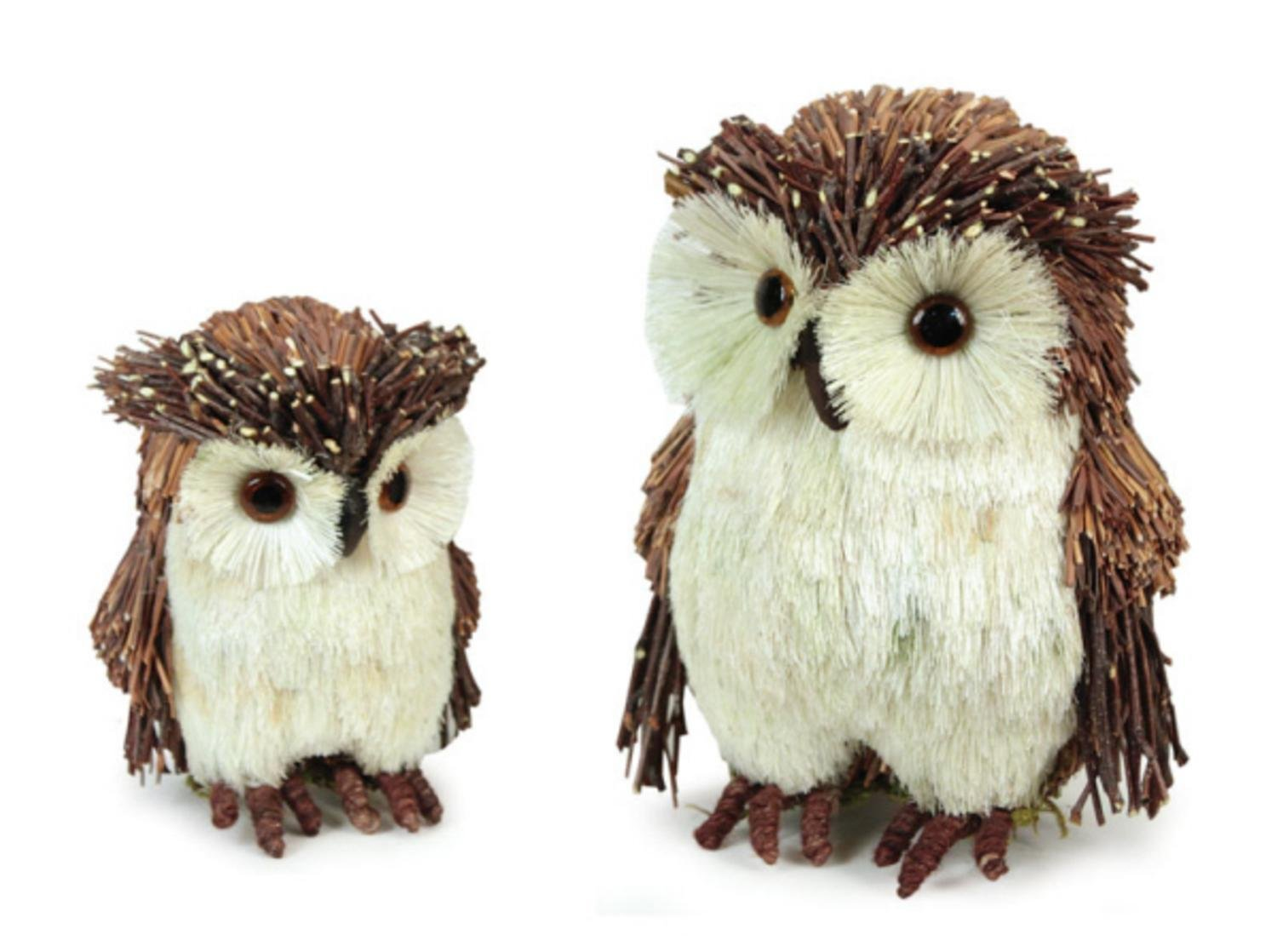 In the Birches Collection - Bristled Woodland Owl Family Set of 2