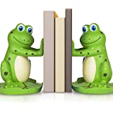 Joyvano Frog Bookends to Hold Books – Unique Kids' Room Book Ends w/ Non-Slip Base - Book Stopper for Childrens Room, Bookshe
