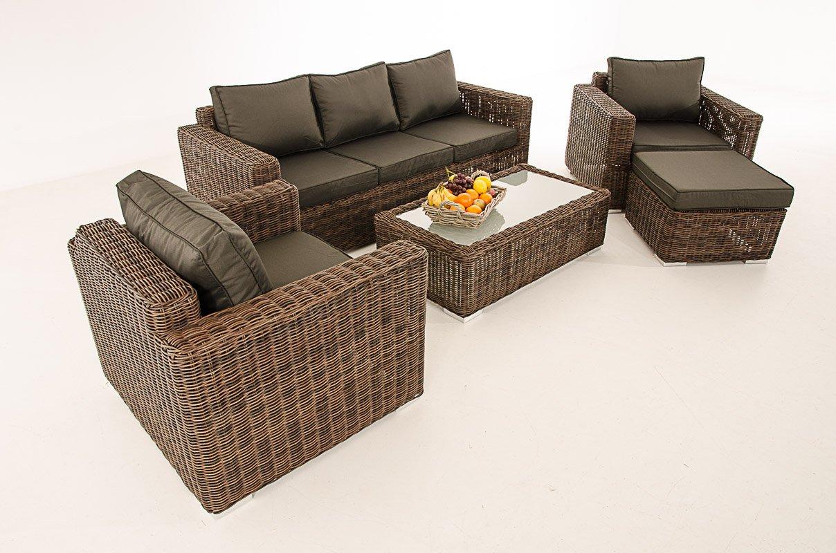 Mendler 3-1-1 Gartengarnitur CP053 Sitzgruppe Lounge-Garnitur Poly-Rattan ~ Kissen anthrazit, braun-meliert